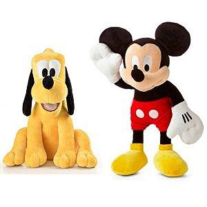 Mickey e Pluto de Boneco de Pelúcia Disney 33cm com Som