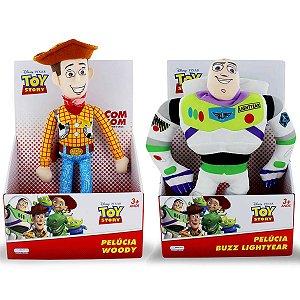 Woody e Buzz Lightyear Boneco de Pelúcia Toy Story 30cm com Som