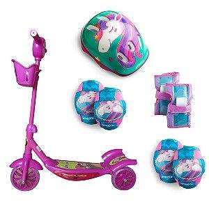 Patinete 3 Rodas Masha e o Urso e Kit de Proteção Infantil