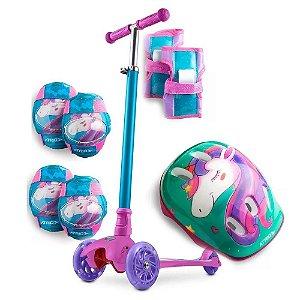Patinete 3 Rodas com LED e Kit Proteção Infantil Unicórnio Rosa