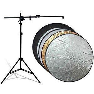 Kit Rebatedor Fotográfico Circular 5x1 110cm com Tripé e Suporte