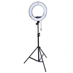 Kit Iluminador LED Ring Light RL-18 Circular Foto Make Greika com Tripé