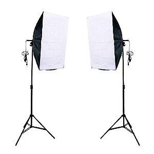 Kit de Iluminação Duplo Foto e Video Luz Contínua Softbox 50x70cm e Tripé
