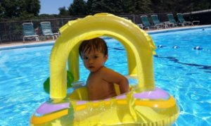 Bóia Baby Bote Kiddie Intex com cobertura
