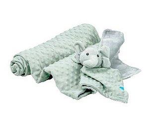 Kit Cobertor com Naninha Elefante Cinza - Clingo
