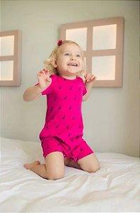Macaquinho de Verão Pink Estampado - Welpie