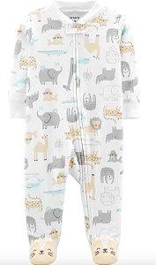 Macacão pijama algodão zíper Carters Safari