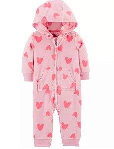 Macacão pijama Corações flanelado Carters
