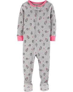 Macacão pijama algodão Carter's Ouriço