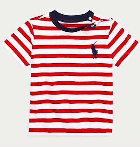 Camiseta algodão Ralph Lauren - Navy Vermelho