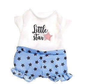 Roupa de boneca metoo- short e blusa little star com cabide