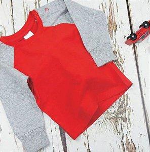 camiseta manga longa blade and rose Cinza e Vermelha