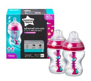 Kit Mamadeira Tommee Tippee Advanced Anti Cólica 2 unidades 260ml Rosa