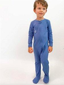 Macacão algodão com pezinho e bolso Azul - Welpie