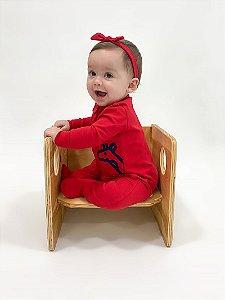 Macacão algodão vermelho com pezinho - Welpie