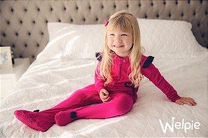 Macacão algodão com pezinho Pink - Welpie