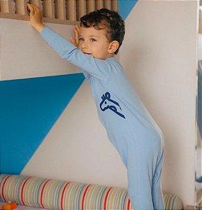 Macacão algodão com pezinho azul bebe - Welpie