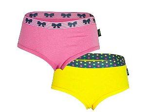 Pack 2 Calcinhas Bikini Rosa & Amarelo - Gumii