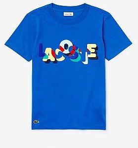 Camiseta Infantil Estampada Azul - Lacoste