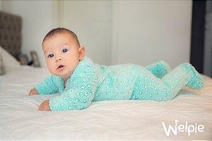 Macacão fleece Poá verde unissex - Welpie