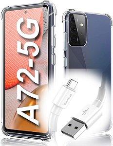 Capa Anti Shock para Galaxy A72 + Pelicula de vidro 3D + Cabo Carregador
