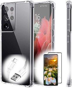 Capa Anti Shock para Samsung Galaxy S21 + Pelicula de Gel + Cabo Carregador