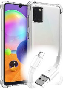 Capa Anti Shock Samsung Galaxy A31 +Pelicula de Vidro + Cabo Carregador