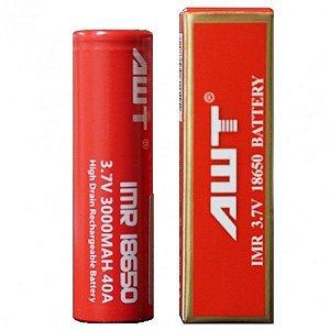 Bateria 18650 AWT Li-Mn IMR 18650 3.7V 3000mAh High Drain 40A Flat Top - AWT
