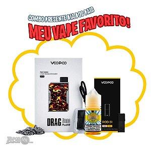 Combo Tropic com Pod Kit Drag Nano 750 mAh POD S1 VooPoo + Pack com 4 Pod + Líquido Lemon Tart Nic Salt – Dinner Lady - 30ml