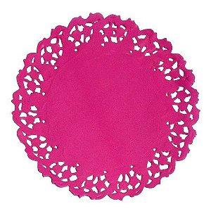 Toalha Rendada Papel Mago 11cm Pink c/50 unids