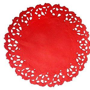 Toalha Rendada Papel Mago 11cm vermelha c/50 unids
