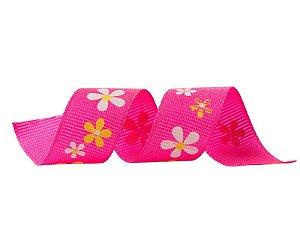 Fita Gorgurão Flores Rosa 20mmx25mts unid (consultar disponibilidade na loja antes a compra)