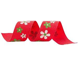 Fita Gorgurão Flores Vermelha 20mmx25mts unid (consultar disponibilidade na loja antes a compra)