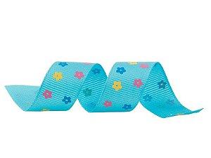 Fita Gorgurão Flores Azul 20mmx25mts unid (consultar disponibilidade na loja antes a compra)