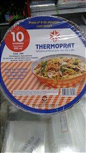 Marmitex aluminio nº08 0800ml Thermoprat tampa papelao 10 unids