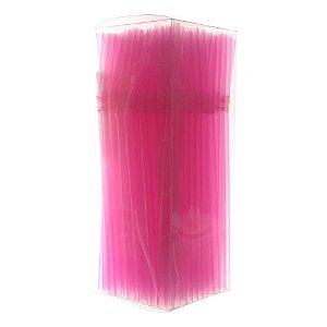 Canudo Neon Flexivel Pink c/150 unids