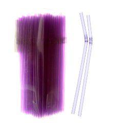 Canudo Neon Flexivel Lilás 150 unids