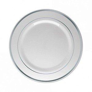 Prato Plastico Luxo 26cm Branco borda Prata 6 unids