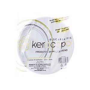 Prato Plastico 21cm Branco Kerocopo 10 unids