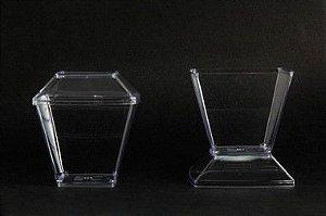 Pote Acrilico 150ml (Pic151) Square Cristal c/ tampa 10unids
