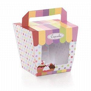 Caixa Visor Tenda c/ Alça p/ 01 Cupcake unid