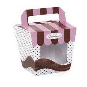 Caixa Visor Vitrini c/ alça p/01 cupcake unid