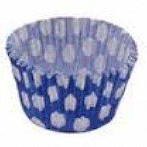 Forma papel Mini Cupcake Azul escuro/bco c/45 unids