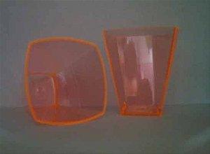 Copo Acrilico 51ml Quadrado Laranja c/10 unids