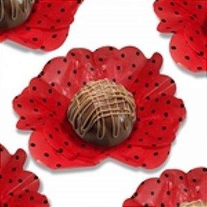 Forma Papel Seda Flor Poá Vermelho Preto c/40 unids (consultar disponibilidade antes da compra)