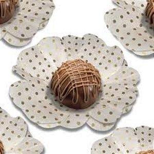 Forma Papel Seda Flor Poá Branco e Ouro c/40 unids (consultar disponibilidade antes da compra)