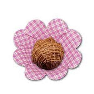 Forma Papel Cartão Flor Xadrez Rosa c/50 unids (consultar disponibilidade antes da compra)