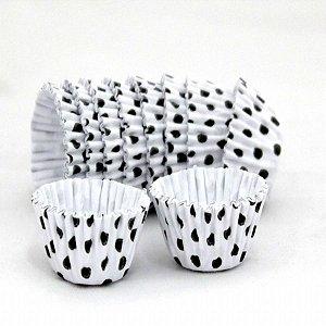 Forma papel Cupcake Bco/preto (poá) c/45 unids
