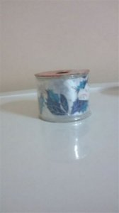Fita decorada aramada 6,3cmx9,14mts Folhas azul/prata (natal) unid