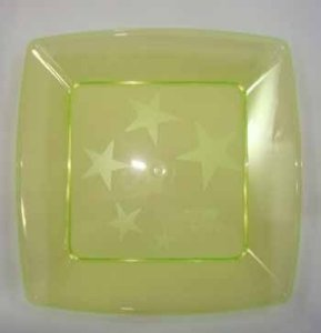 Prato Acrilico 21x21cm Square Amarelo c/10